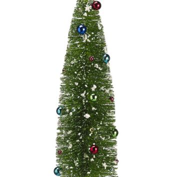 "18"" Pre-Decorated Flocked Glitter Bottle Brush Christmas Tree - Unlit"
