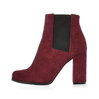 Dark red suede heeled ankle boots - ankle boots - shoes / boots - women