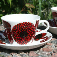 Gustavsberg Blue and Red Aster Coffee Cup by: Gustavsberg -