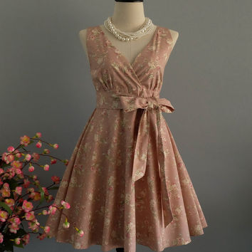 My Lady II - Dusty Pink Nude Floral Dress Spring Summer Pink Nude Floral Party Dress Pink Floral Bridesmaid Dress Vintage Tea Dress XS-XL