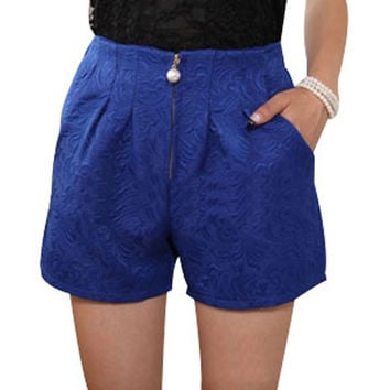 2016 Summer Plus Size 4XL Women Shorts Casual High Waist Pleated Crochet Lace Jacquard Weave Zipper Short Pants Free Shipping