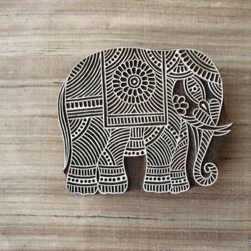 Indian Elephant Textile / Paper Stamp - Wooden Hand Carved Stamp Tjaps
