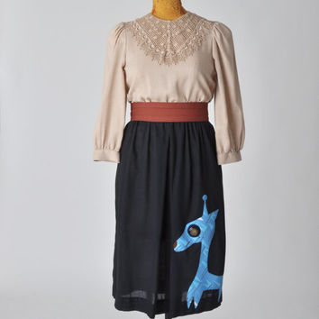 vintage dress with giraffe applique  80's dress with by aorta