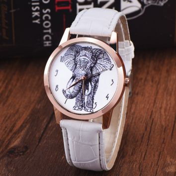 White Color Leather Wirst Elephant Watch