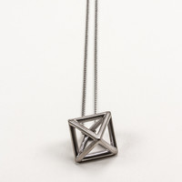 Hematite Hollow Octahedron Pendant Necklace
