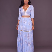 Casual Crop Top & Maxi Skirt Set