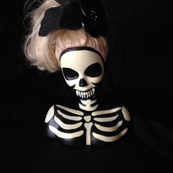 Skeleton Xray Altered Doll Goth Rockabilly Barbie Styling Head