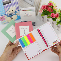 1pcs Creative Hardcover Post It Notepad Sticky Notes Kawaii Stationery Diary Notebook and Pen Office School Supplies
