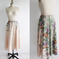 Vintage 70s Cascading Floral Print Peach Cotton Midi Skirt | xs small 2