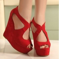 Wholesale Korea style joker simple hallow-out fish mouth thick bottom wedges SY-C0605 red - Lovely Fashion