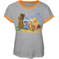Winnie The Pooh - Rather Be Wondering Girl's Ringer T-Shirt