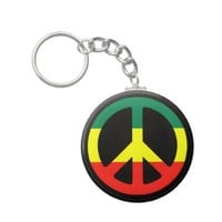 Rasta Peace Symbol Key Chains from Zazzle.com
