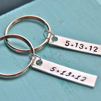 Anniversary gift for the couple, hand stamped, tag keychain