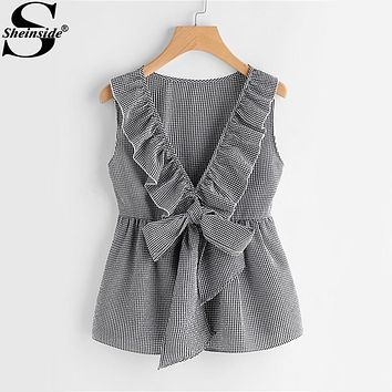 Sheinside Plaid Cute Bow Front Blouse Deep V Neck Shell Tops 2017 Women Ruffle Sleeveless Summer Tops Ladies Peplum Tunic Blouse
