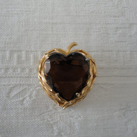Vintage Gold Tone Apple Heart Amber Stone Brooch Pin