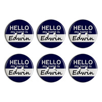 Edwin Hello My Name Is Plastic Resin Button Set of 6