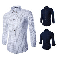 Dots Slim Fit Men's Fashion Button Up Dress Shirt