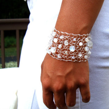 Glowing Moonstone Arm Cuff Crystal Aurora Borelais Exclusive Wire Knit Beaded Jewelry LIMITED Edition