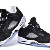 Cheap Air Jordan 5 Low Men Shoes Black White Gray