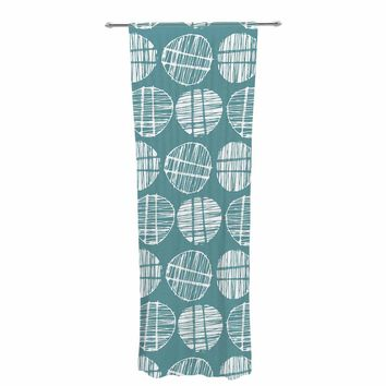 "Gill Eggleston ""Sketched Pods Teal"" Teal White Abstract Modern Vector Digital Decorative Sheer Curtain"