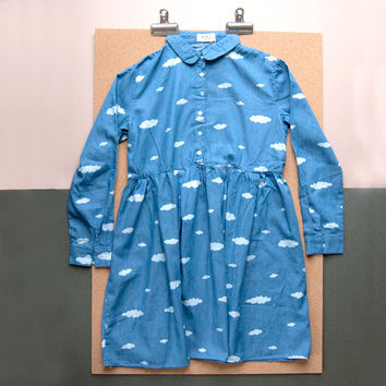 Denim Shirt Dress With Cloud Print