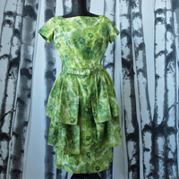 50's Green Floral Vintage Wiggle Mad Men Dress Polished Cotton with Sheer Cotton Tiered Apron Belt