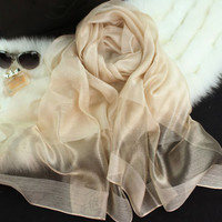2015  new silk women scarf 10 color fashion black stitching gold silk scarf silk scarves cotton shawls brand wj0120