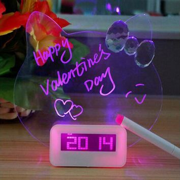 Blue Red LED Fluorescent Digital Alarm Clock Message Board Snooze Digital Clock With Calendar Bedside Despertador Desk Clock A