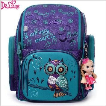 VONG2W 2017 Brand Delune New Girl School Bags 3D Cute Bear Flower Pattern Waterproof Orthopedic Backpack Schoolbag Mochila Infantil