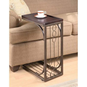 Tray Top Snack Side End Table With Scroll Design Iron Base, Brown
