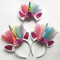 2PCS Glitter Metallic Unicorn Headband for Girls Kids 2017 DIY Felt Unicorn Horn Headband Unicorn Party Hair Accessories