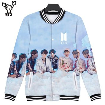 BTS 3D Baseball Jacket Sweatshirt Women/Men Lovely Winter Hip Hop Coat Fashion Funny Popular Jacket Creative Design Print 4XL