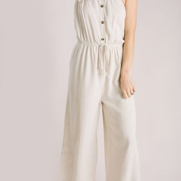Thea Taupe Tie Strap Jumpsuit