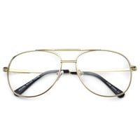 Addison 90's Metal Frame Gold Silver Clear Aviator Glasses