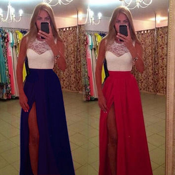 2015 New Woman Clothes Maxi Long Dress High Waist Hit Color Lace Patchwork Split Sexy Dress Vestido De Festa Longo Party Dresses = 1753518788