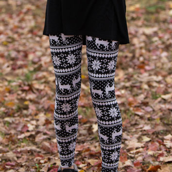 Be A Deer Leggings-Black/White