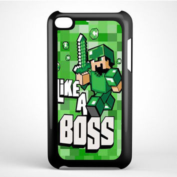 Cute Minecraft like a boss Ipod Touch 4 Case