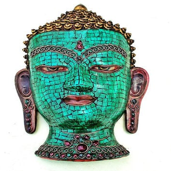 Turquoise Buddha Wall Hanging Mask / Vintage Decorative Buddhism Bodhi Face / Brass Resin Ceramic