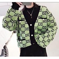 GUCCI Fashion New More Letter Print Long Sleeve Coat Cardigan Women Green