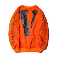 VLONE hot fashion couple casual printed round-collared long-sleeved hoodie Orange