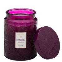 LARGE EMBOSSED GLASS JAR CANDLE - SANTIAGO HUCKLEBERRY