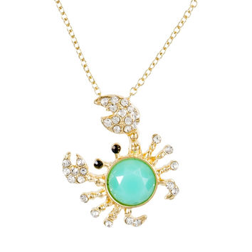 Crab Large Gem Body Pendant Necklace