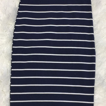 Striped Pencil Skirt: Navy