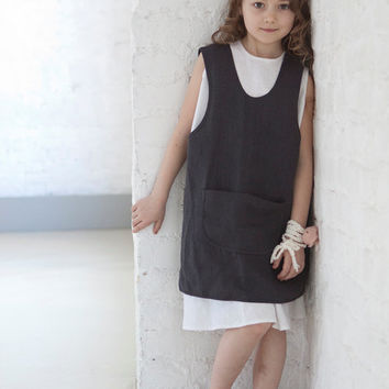 Girls clothes Linen pinafore apron dress Kids retro apron cross back Dark gray Linen dress