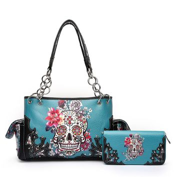 'Sugar Skull' Floral Handbag and Wallet