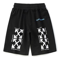 Off White New fashion letter arrow print shorts Black