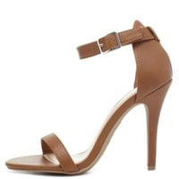 Chestnut Single Sole Ankle Strap Heels by Charlotte Russe