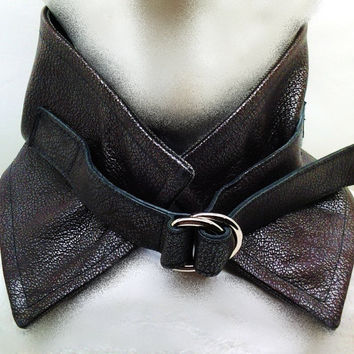 Steampunk Neckwarmer in Brown Lambskin with Metallic Silver Finish. Italian Pique Wool Lining. All Leather Strap with 2 Chrome D-rings.