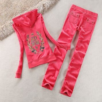 Juicy Couture Logo Sequin Velour Tracksuit 2125 2pcs Women Suits Red