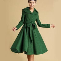 winter wool coat Green jacket midi dress coat (336T) Christmas Sales 10% Off